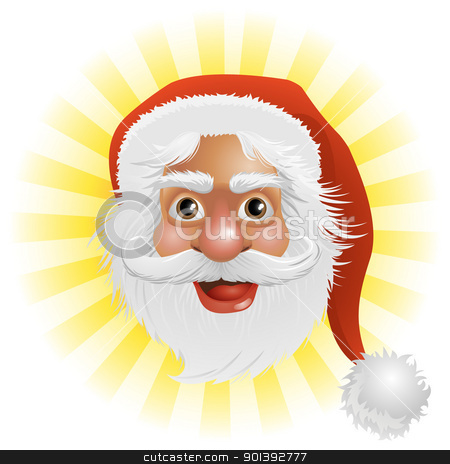 Santa Claus face stock vector clipart, An illustration of a happy Christmas Santa Claus face by Christos Georghiou