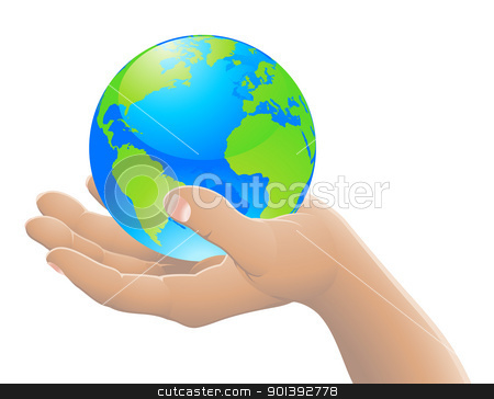The world in your hand concept stock vector clipart, Hand holding the world globe. The world in your hand concept. by Christos Georghiou