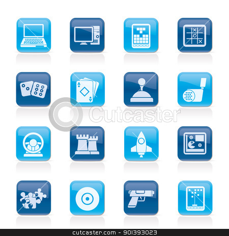Computer Games tools and Icons  stock vector clipart, Computer Games tools and Icons - vector icon set by Stoyan Haytov