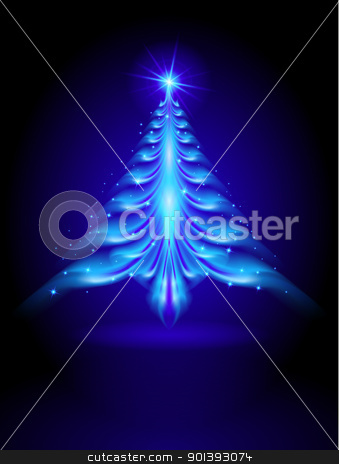 Abstract blue Christmas tree stock photo, Abstract blue Christmas tree on black background illustration designer by dvarg
