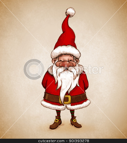 Santa Claus drawing stock photo, Santa Claus smiles and joyful for Christmas greetings card by Giordano Aita