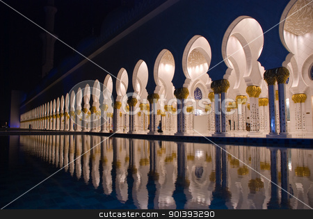 Arches of islamic mosque at night stock photo, Sheikh Zayed Mosque in Abu Dhabi by Mahmoud Rahhal