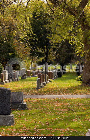 Autumn stock photo, Autumn sunny day in the cemetery  by Pavel Cheiko