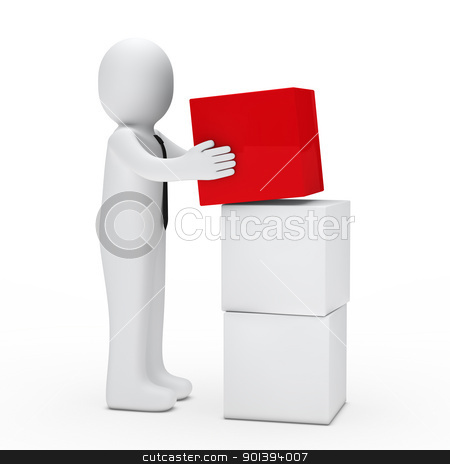 man hold red cube stock photo, 3d man with tie hold red cube by d3images