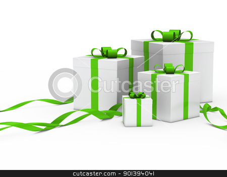 gift box white green ribbon stock photo, 3d gift box white with green ribbon by d3images
