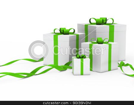 gift box white green ribbon stock photo, 3d gift box white with green ribbon by d3images