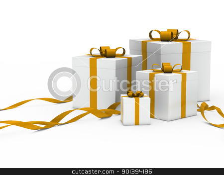 gift box white gold ribbon stock photo, 3d gift box white with gold ribbon by d3images