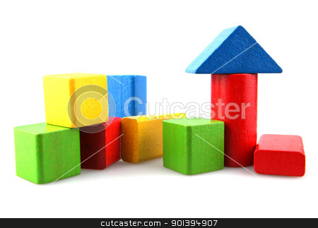 Wooden building blocks stock photo, Wooden building blocks isolated on white background by Nenov Brothers Images