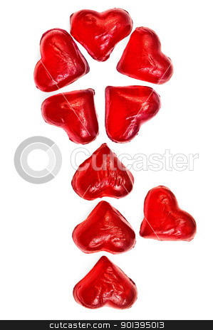 Flower of marmalade stock photo, Flower of red jelly in the form of hearts isolated on white background by rezkrr
