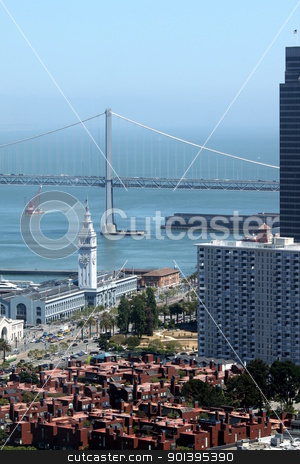 Bay Bridge stock photo, The Bay Bridge with houses from  San Francisco in the foreground by Henrik Lehnerer