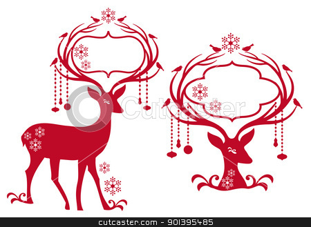 christmas frame with reindeer, vector stock vector clipart, reindeer with blank christmas frame, vector background by Beata Kraus