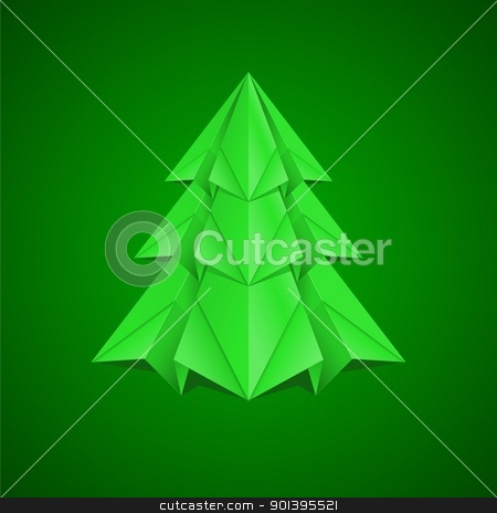 Paper Christmas Tree stock photo, Paper Christmas Tree. Illustration on green background by dvarg