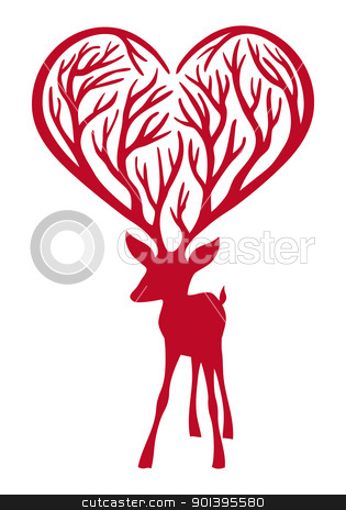 deer with heart antlers, vector stock vector clipart, red deer with heart antlers, vector illustration by Beata Kraus