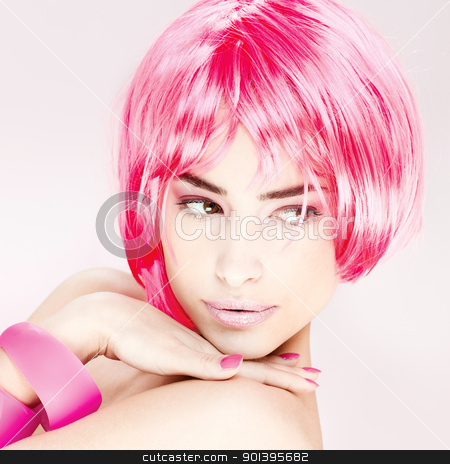 pretty pink hair woman stock photo, Portrait of a pretty young pink hair woman by iMarin