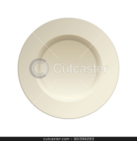 Porcelain china dinner plate stock vector clipart, Cream china plate for dinner service clean by Michael Travers