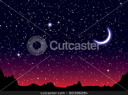Space landscape red moon stock vector clipart, Red sky at night with starry landscape and mountains by Michael Travers