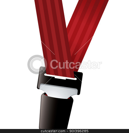 Car seat belt sporty stock vector clipart, Car seat belt clipped in with red strap by Michael Travers