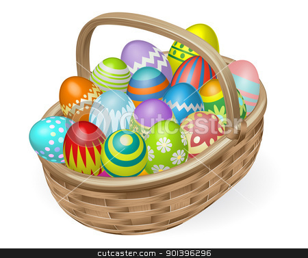 Illustration of painted Easter eggs stock vector clipart, Illustration of basket of colourful painted Easter eggs by Christos Georghiou