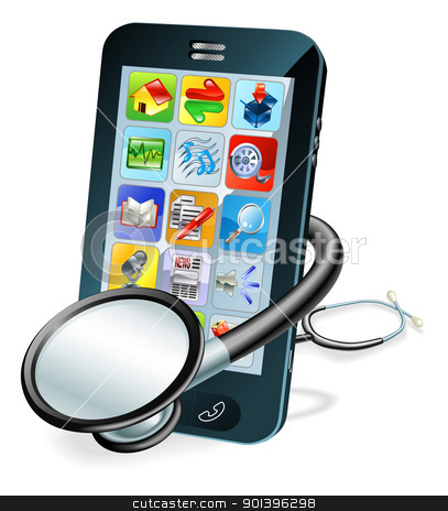 Cell phone health check concept stock vector clipart, A mobile phone with stethoscope wrapped round it. Problem diagnosis concept by Christos Georghiou