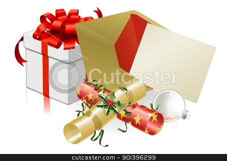 Christmas letter or invite scene stock vector clipart, Illustration of Christmas letter or invite with crackers and baubles. Space for text. by Christos Georghiou