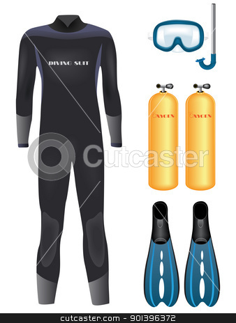 Diving equipment stock vector clipart, Set of diving equipment over white. Vector illustration     by Vladimir Gladcov