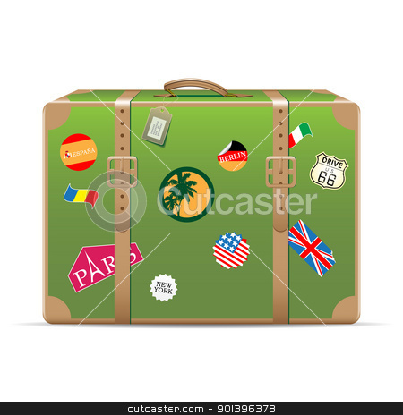 Vintage travel suitcase stock vector clipart, Vintage suitcase with travel stickers isolated on white. Vector illustration by Vladimir Gladcov
