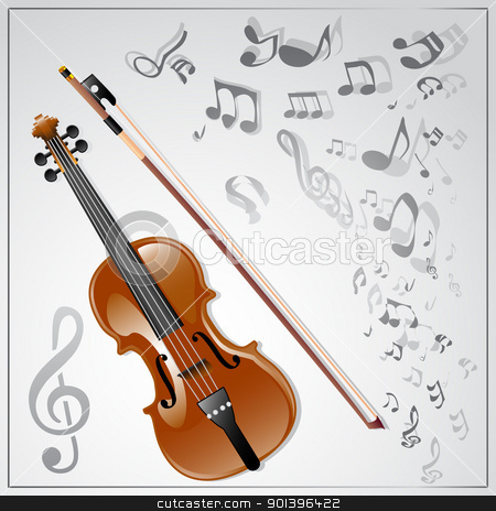 Violin. Musical background stock vector clipart, Background with a violin and musical notes. Vector illustration by Vladimir Gladcov