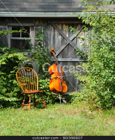 Cello stock photo, Cello standing against a practice shed outside. by OSCAR Williams