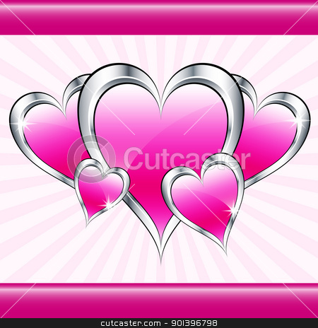 Pink love hearts and starburst stock vector clipart, Pink love hearts symbolizing valentines day, mothers day or wedding anniversary on a starburst background. Copy space for text. by toots77