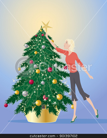 decorating a christmas tree stock vector clipart, an illustration of a woman decorating a christmas tree with a golden star on a blue and yellow background by Mike Smith