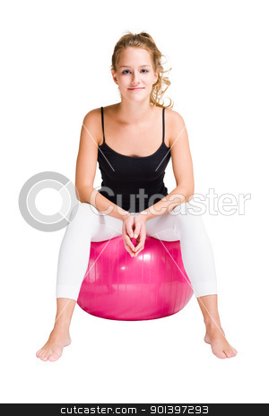 Relaxing. stock photo, Portrait of attractive young woman relaxing, sitting on a yoga ball, isolated on white background. by exvivo
