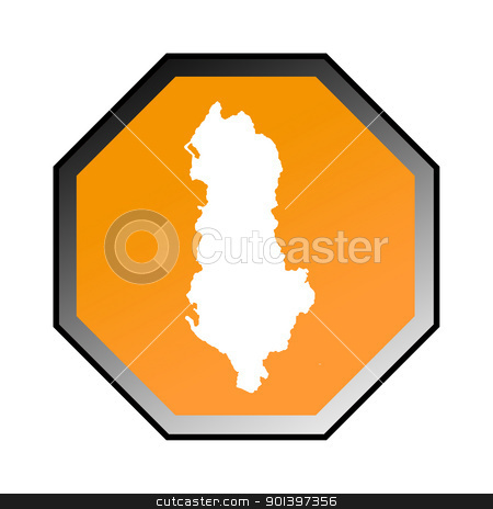 Albania road sign stock photo, Albania road sign isolated on a white background. by Martin Crowdy