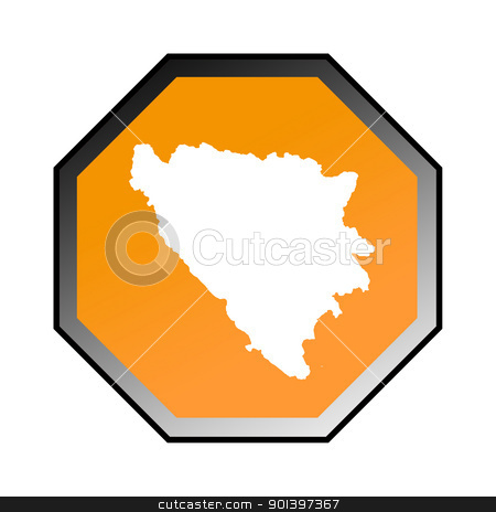 Bosnia and Herzegovina road sign  stock photo, Bosnia and Herzegovina road sign isolated on a white background. by Martin Crowdy