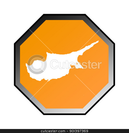 Cyprus road sign stock photo, Cyprus road sign isolated on a white background. by Martin Crowdy
