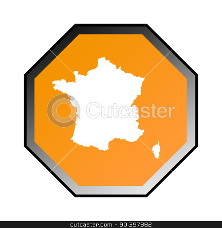 France road sign stock photo, France road sign isolated on a white background. by Martin Crowdy
