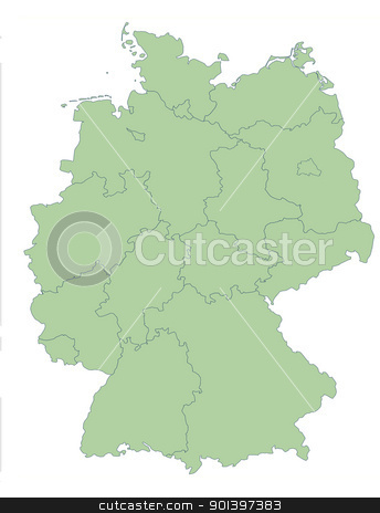 Map of Germany showing states stock photo, Map of Germany showing states; isolated on white background. by Martin Crowdy