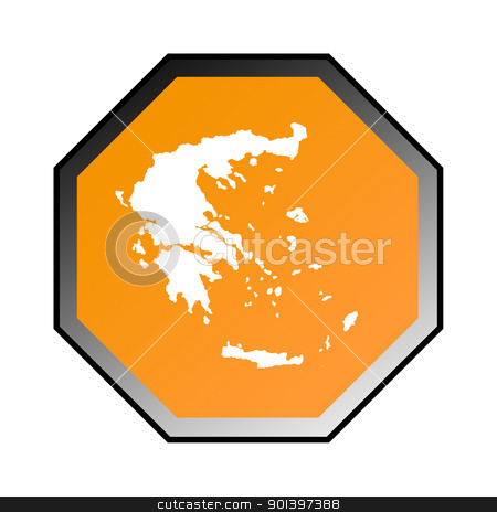 Greece road sign  stock photo, Greece road sign isolated on a white background. by Martin Crowdy