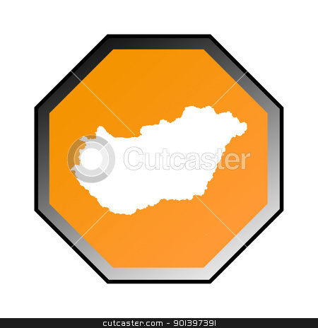 Hungary road sign stock photo, Hungary road sign isolated on a white background. by Martin Crowdy