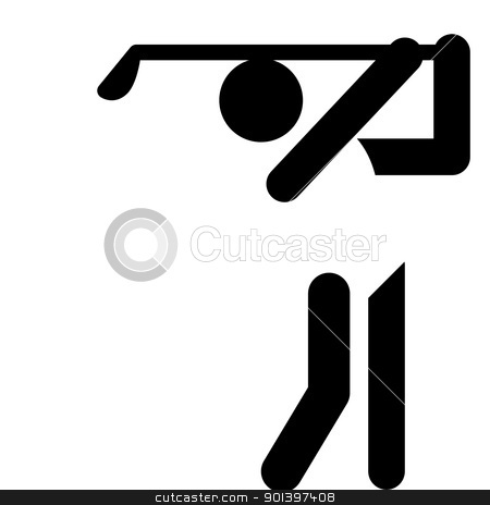 Golf sign stock photo, Golfing sign or symbol; isolated on white background. by Martin Crowdy