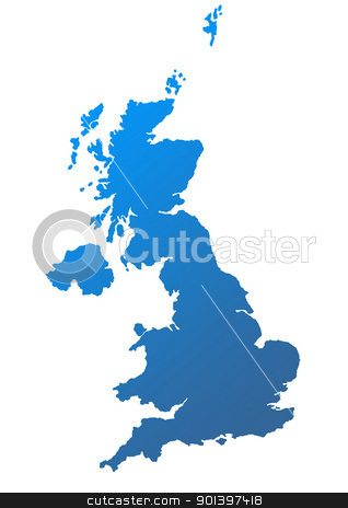 United Kingdom map stock photo, United Kingdom map in blue on white background. by Martin Crowdy
