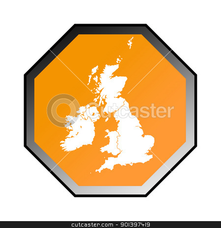 United Kingdom road sign stock photo, United Kingdom road sign isolated on a white background. by Martin Crowdy
