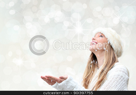 christmas holiday woman with snow stock photo, christmas holiday woman with snow by mandygodbehear