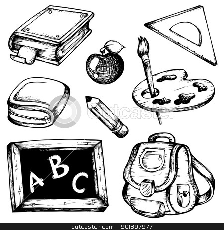School drawings collection 1 stock vector clipart, School drawings collection 1 - vector illustration. by Klara Viskova