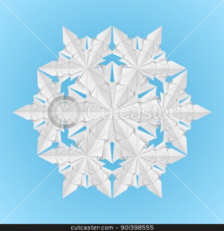 White paper snowflake stock photo, White paper snowflake on a blue background illustration designer by dvarg