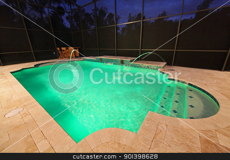Pool at Night stock photo, A Swimming Pool lit up at night by Lucy Clark