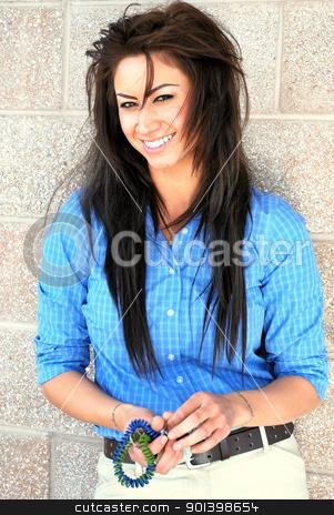 Dark exotic female beauty. stock photo, Dark erotic female beauty posing outdoors. by OSCAR Williams