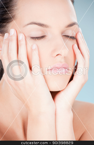 pretty young woman stock photo, pretty young woman with closed eyes by iMarin