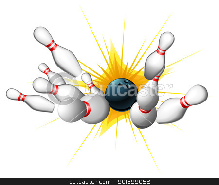 Bowling Strike stock vector clipart, All ten pins being knocked down by a bowling ball for a strike  by Christos Georghiou