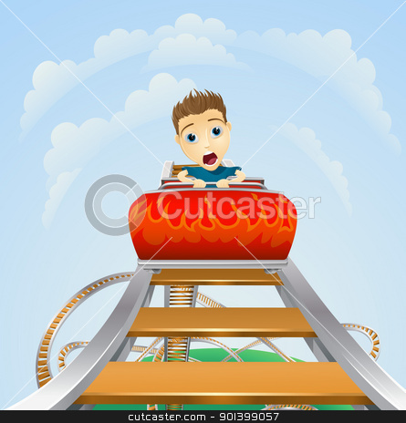 Scary ride on rollercoaster stock vector clipart, Cartoon of a young boy or man looking terrified on a roller coaster ride by Christos Georghiou