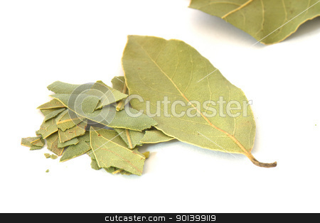 Bay leaf spice on white background stock photo, Close up of several leaves of bay leaf spice on white background by Daniel Oertelt